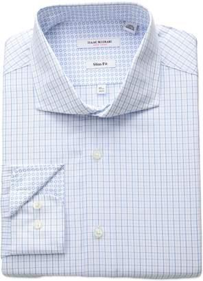 Isaac Mizrahi Men's Slim Fit Check Cut Away Collar Dress Shirt, Mini Blue