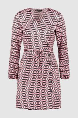 Next Womens F&F Pink Geo Shirt Dress