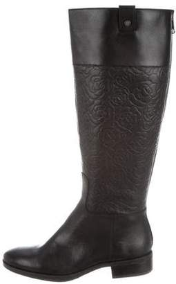 Karl Lagerfeld Leather Round-Toe Knee-High Boots