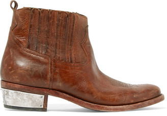Golden Goose Deluxe Brand - Crosby Distressed Leather Ankle Boots - Brown $1,025 thestylecure.com