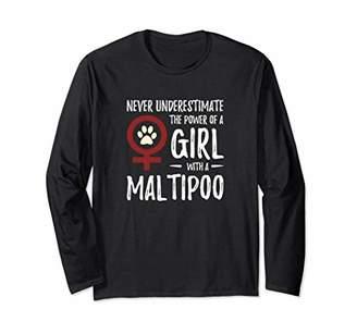 Power of Girl Maltipoo Long Sleeve Shirt for Dog Mom