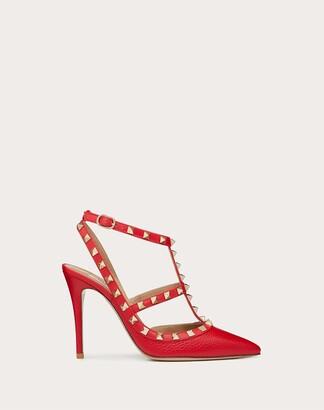 Valentino Garavani Rockstud Grainy Calfskin Ankle Strap Pump 100 Mm Women Pure Red 100% Pelle Di Vitello - Bos Taurus 39.5