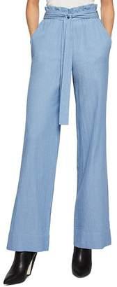 BCBGeneration Plissé Paper Bag Waist Wide-Leg Pants