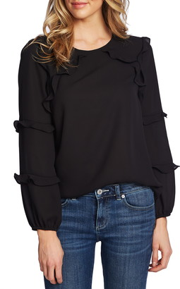 CeCe Tiered Ruffle Long Sleeve Blouse