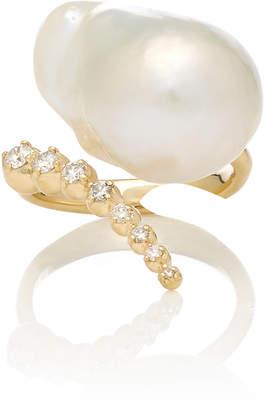 Mizuki Graduated Curved Diamond And Baroque Pearl Ring
