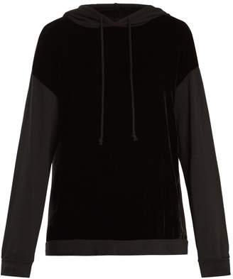 Alex velvet-panel hooded sweatshirt