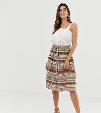 Esprit striped button through midi skirt