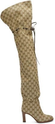 Gucci Beige GG Lisa Over-the-Knee Boots