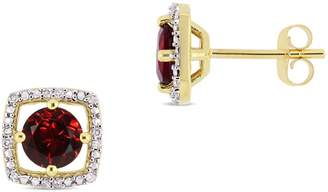 Concerto 10K Yellow Gold and Garnet Halo Birthstone Stud Earrings with 0.07 CT. T.W. Diamond