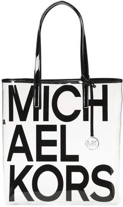 MICHAEL Michael Kors Large Translucent Leather-Trim Logo Tote