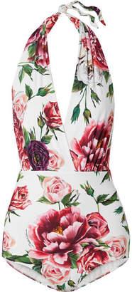 Dolce & Gabbana Floral-print Halterneck Swimsuit - White