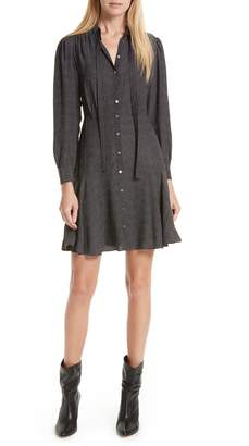 Rebecca Taylor Sprinkle Dot Tie Neck Silk Dress