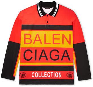 Balenciaga Oversized Logo-Print Striped Polo Shirt - Orange