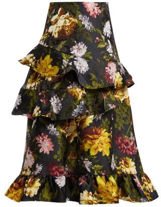 Preen by Thornton Bregazzi Esta Ruffled Floral Jacquard Skirt - Womens - Black Multi