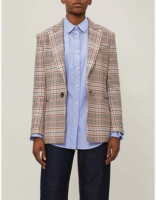Sandro Checked cotton and wool-blend blazer