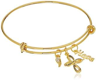 Hope and Faith Plated Adjustable Bangle Bracelet
