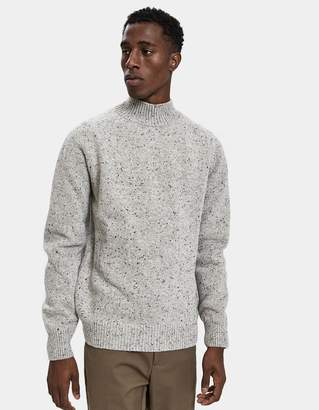 Norse Projects Viggo High Neck Neps Sweater in Light Grey Melange