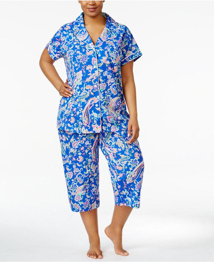 Lauren Ralph LaurenLauren Ralph Lauren Plus Size Notch Collar Top and Capri Pants Cotton Knit Pajama Set