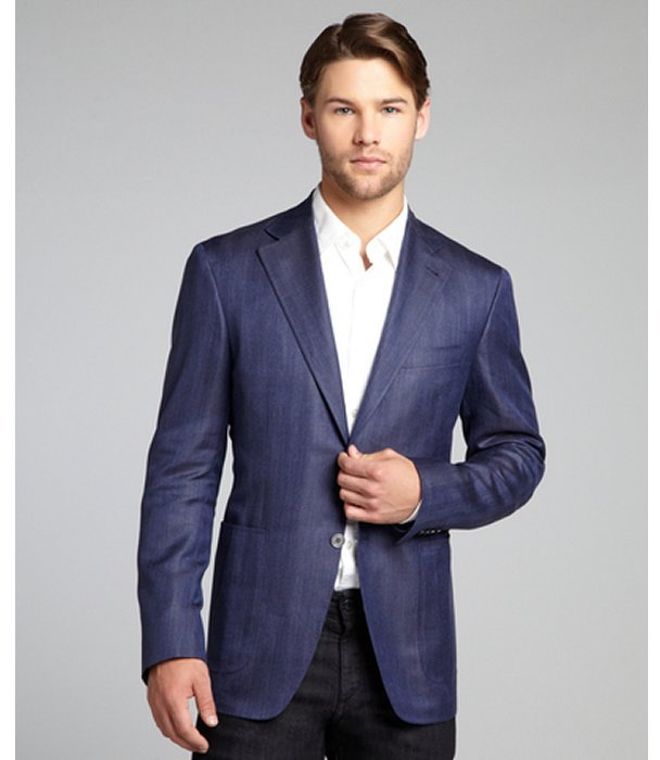 Canali blue wool-silk two-button blazer