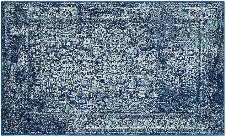 Script Monogram Bath Mat White Blue Clasp Deal