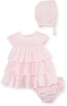 Mayoral Multi-Lace Ruffle Dress w/ Bloomers & Bonnet Size 2-12 Months