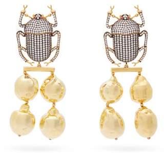 Begum Khan - Pharaoh Crystal Beetle Gold Plated Earrings - Womens - Crystal