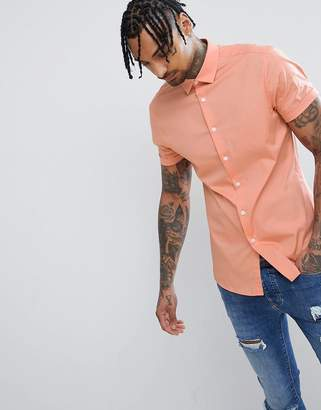 Asos Design DESIGN Slim Shirt In Orange With Short Sleeves