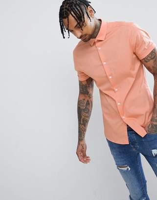 Asos Design Slim Shirt In Orange With Short Sleeves