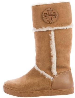Tory Burch Tory Burch Shearling Trimmed Mid-Calf Boots