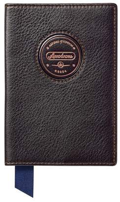 Aspinal of London Aerodrome Passport Cover In Dark Brown Pebble