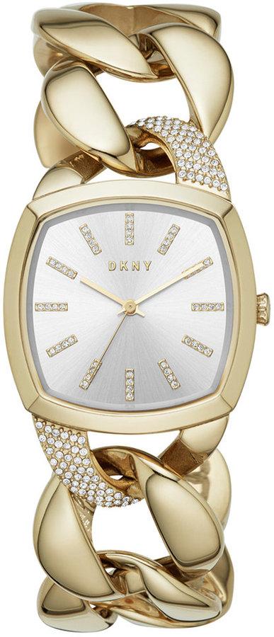DKNYDKNY Women's Chanin Crystal Gold-Tone Stainless Steel Chain Bracelet Watch 32mm NY2570