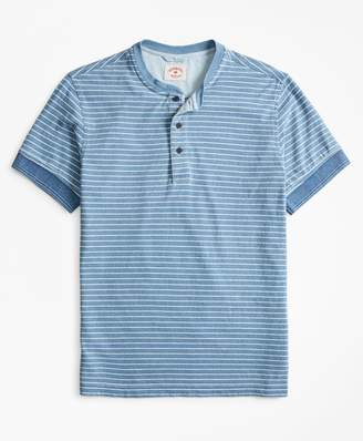 Brooks Brothers Indigo Feeder-Stripe Short-Sleeve Henley