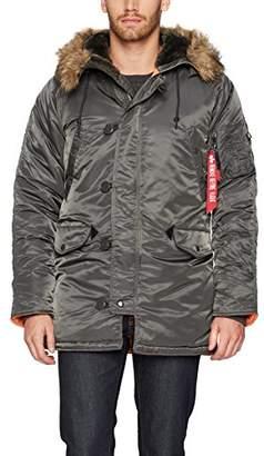 Alpha Industries Men's N-3B Slim-Fit Parka Coat with Removable Faux-Fur Hood Trim