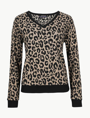 Marks and Spencer Animal Print V-Neck Long Sleeve Sweatshirt