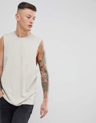 BEIGE ASOS DESIGN tank with dropped arm hole in