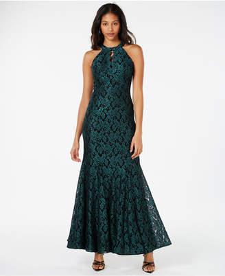 ddb3dd7c857e Night Way Nightway Glitter-Lace Keyhole Gown