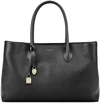 Aspinal of London Oversized London Tote In Soft Taupe Pebble