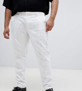 Asos Edition EDITION Plus skinny tuxedo suit pants in sequin and lace embellished white sateen