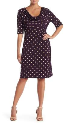 Connected Apparel Draped Cowl Neck Polka Dot Dress