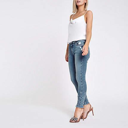 Womens Petite Blue mid rise studded Amelie jeans
