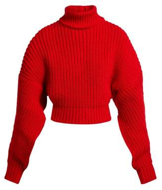 Awake Cropped Button Back Ribbed Knit Wool Sweater - Womens - Red