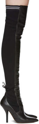 Fendi Black Knit Over-the-Knee Boots