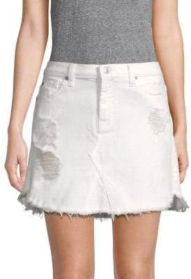 7 For All Mankind Distressed Denim Mini Skirt