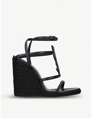 f366e205d Saint Laurent Cassandra 105 leather wedge espadrilles sandals