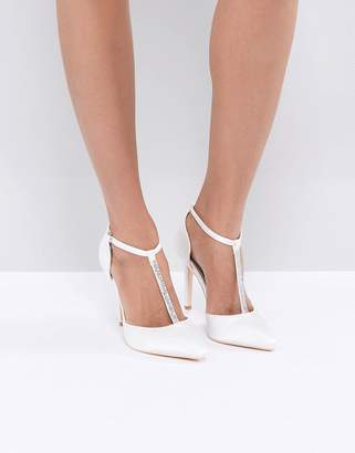True Decadence Off White Embellished T-Bar Pumps