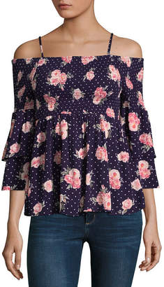 Almost Famous Elbow Sleeve Babydoll Top-Juniors