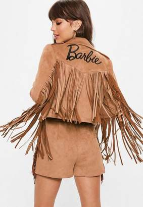 Missguided Tan Faux Suede Barbie Logo Fringe Biker Jacket