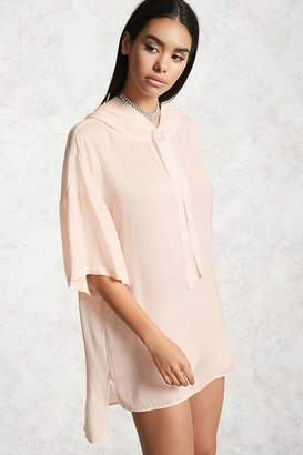 Forever 21 Satin Combo Hooded Tunic