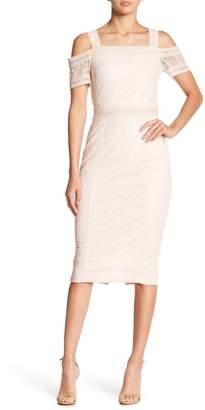Rachel Roy Cold Shoulder Floral Lace Midi Dress