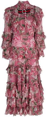 Gucci floral print ruffled dress